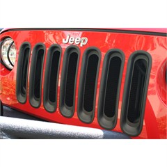 Grille Insert for Jeep Wrangler JK 2007-2016 in Black by Rugged Ridge