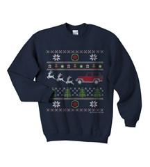Jeep Kids Christmas Sweater Print- Navy Crewneck