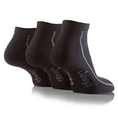 Jeep Mens Sports Trainer Liner Socks (3-pack), Black