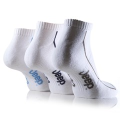 Jeep Mens Sports Trainer Liner Socks (3-pack), White