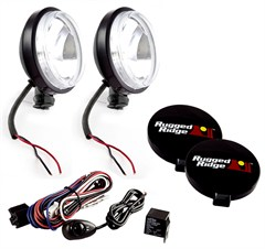 "6"" Inch Round Slim Halogen Fog Light Kit by Rugged Ridge"