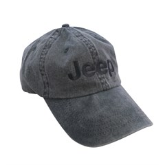 Pigment Dyed Gray Embroidered Jeep Hat