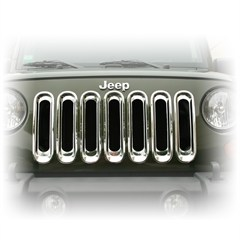 Grille Insert Set for Jeep JK (2007-2014), Chrome