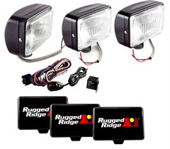 "Halogen Fog Light Kit, Steel Housings, 5"" x 7"" Inches, Black"