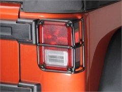 Black Rear Euro Light Guards by Rampage Products for Jeep Wrangler JK (2007-2014)