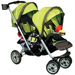 Jeep Traveler Tandem Double Stroller-Spark Green