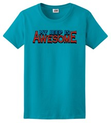 "Closeout- (XL Only) ""My Jeep is Awesome"" Women's Tee  - Caribbean Blue"