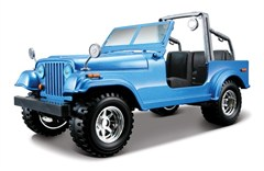 Jeep CJ Blue Diecast Model 1/24