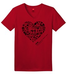 """You Make My Heart Rev"" Women's V-neck Short Sleeved Shirt in Red"