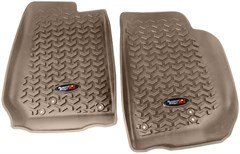 All Terrain Front Floor Liner Wrangler JK 2014-2016 Tan Rugged Ridge