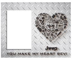 """You Make My Heart Rev"" Jeep Wrangler Heart Diamond Plate Look Finish Frame"
