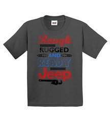 """Rough, Rugged, and Ready"" Youth Tee in Charcoal"