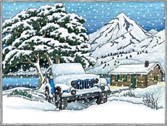 "Holiday Cards featuring a Snow Covered Jeep - ""Seasons Greetings"""