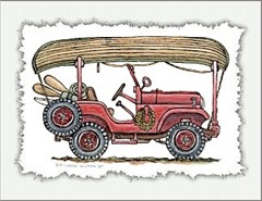Jeep Notecard: CJ5 with Canoe on Roof