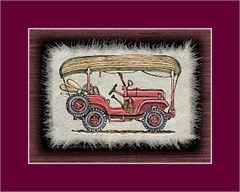 Jeep Print: CJ5 with Canoe on roof