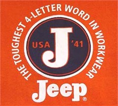 "CLOSEOUT (L & 2XL only) - Jeep Sweatshirt - ""The Toughest 4-Letter Word"" Circle J - Orange"