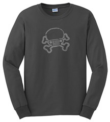 JPFreek Skull & Crossbones LONG Sleeve Men's Tee, Dark Grey