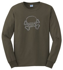 JPFreek Skull & Crossbones LONG Sleeve Men's Tee, Olive