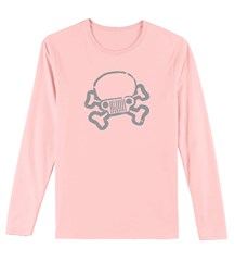 JPFreek Skull & Crossbones LONG Sleeve Women's Tee, Pink