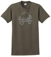 Jeep Skull & Crossbones Tee, Olive, Unisex Sizing