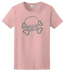 JPFreek Skull & Crossbones Logo Women's Tee, Light Pink