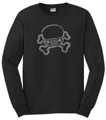 JPFreek Skull & Crossbones LONG Sleeve Men's Tee, Black