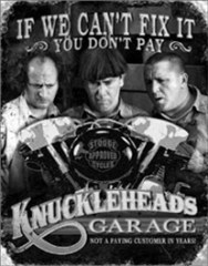 """Knucklehead Garage"" Metal Wall Sign"