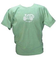 "CLOSEOUT (Med. Only) - Life is good ""Native Off-Road"" Men's Shirt  (Green Tee, White Ride)"