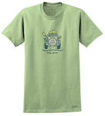 "Life is good ""Dog Gone Canoe"" Men's Short Sleeve Jeep Tee (Sprout Green)"