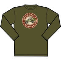 "CLOSEOUT (Large & 2XL Only) Life is good Creamy ""Simple as that, Off Road"" Men's Long Sleeve Shirt (Dark Green)"