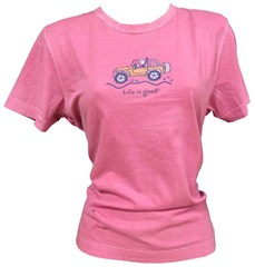 "CLOSEOUT (2XL Only) - Life is good ""Off-Road"" Women's Jeep Tee (Short Sleeve, Fuschia Pink)"