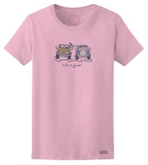 CLOSEOUT Life is Good Women's Jackie Offroad Tee in Pink - XLarge