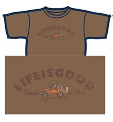 "CLOSEOUT (XL Only) - Life is good ""Simple as that"" Ladies's Short Sleeve Shirt (Light Brown)"