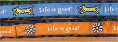 "Life is Good ""Good Dog"" Daisy Dog Collar, Orange"