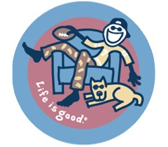 "Life is Good ""Game On"" Jake Lounging w/Football Round Sticker"
