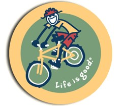 "Life is Good Round 4"" Sticker - Road Bike Jake, Lemonade"