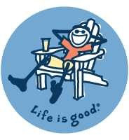 "Life is Good Round 4"" Sticker - Adirondack Chair, Chevy"
