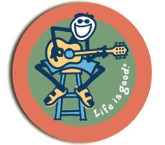"Life is good Round 4"" Sticker - Jake & Acoustic Guitar"