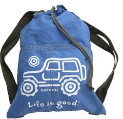 "Life is good ""Native Offroad"" Cinch Sack (Jeep on Aqua Blue)"