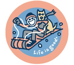 Life is Good Go with the Snow Sledding Round Sticker