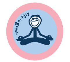 "Life is Good Yoga Sticker, 4"" Round"
