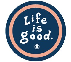 "Life is Good Cling Decal, 8"" Round, Black/White/Orange"