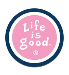 Life is Good Round Magnet, Fleur Pink