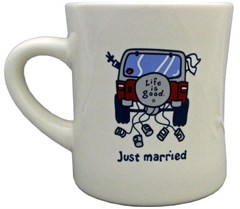 Life is Good JUST MARRIED  Diner Mug, Bone White