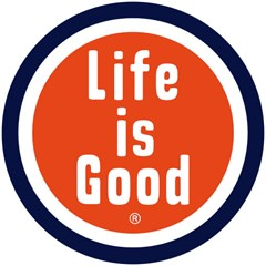 Life is good Round Car Magnet (for Auto/'Fridge, etc)-Black/White