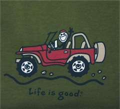 "Life is Good Men's Long Sleeve ""Offroad Jeep"" Tee (Red Jeep on Olive Green)"