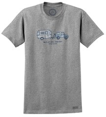 CLOSEOUT Life is Good Not All Who Wander Tee Heather Gray