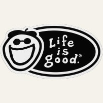 Life is Good Oval Logo Sticker, Black/White