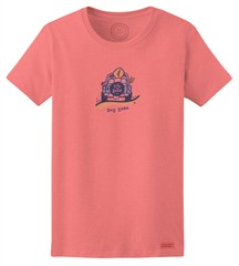 "CLOSEOUT (Small Only) - Life is Good ""Dog Gone"" Women's Short Sleeve Shirt in Fresh Pink"