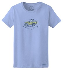 "CLOSEOUT - Life is Good Women's ""Jackie Offroad"" Short Sleeve T-Shirt (Sky Blue)"